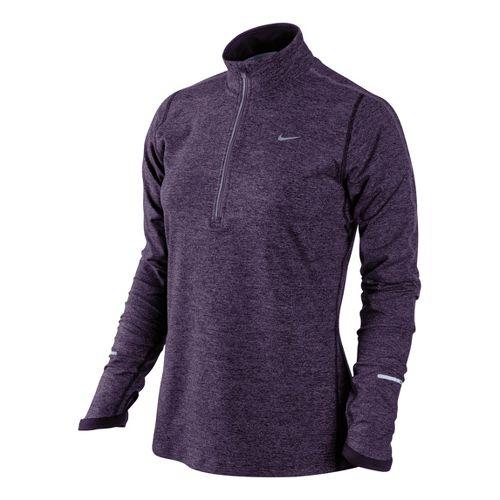 Womens Nike Element Long Sleeve 1/2 Zip Technical Tops - Plum/Heather L