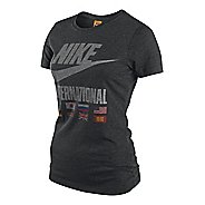 Womens Nike RU Futura International Tee Short Sleeve Technical Tops