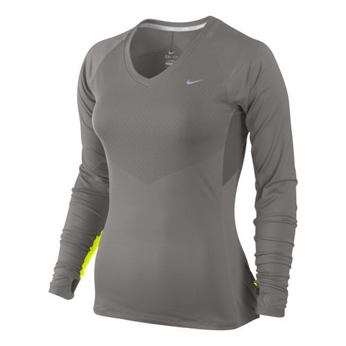 Womens Nike Speed Long Sleeve No Zip Technical Tops - Light Grey/Electra M