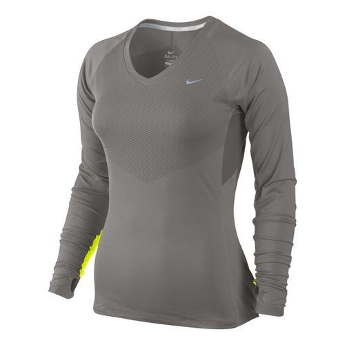Womens Nike Speed Long Sleeve No Zip Technical Tops - Light Grey/Electra S