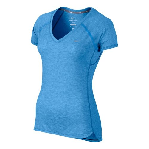 Womens Nike Tailwind V Neck Short Sleeve Technical Tops - Arctic Blue XL