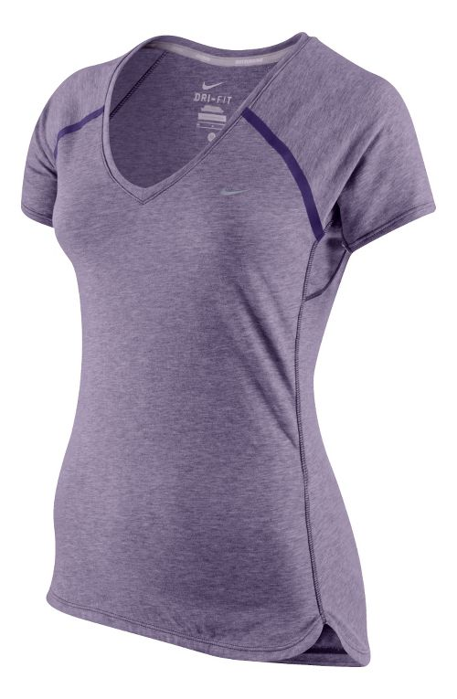 Womens Nike Tailwind V Neck Short Sleeve Technical Tops - Black/Heather S