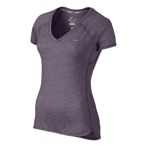 Womens Nike Tailwind V Neck Short Sleeve Technical Tops - Plum L