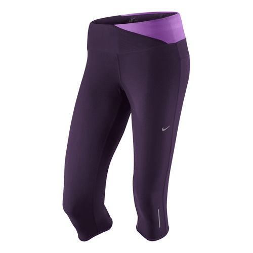 Womens Nike Twisted Capri Tights - Plum L