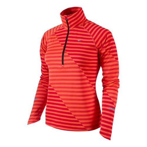Womens Nike Element Jacquard Half Zip Long Sleeve Technical Tops - Crimson M