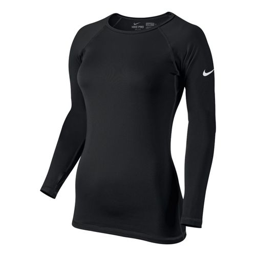 Womens Nike Pro Hyperwarm Crew II Long Sleeve No Zip Technical Tops - Black XS ...
