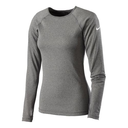 Womens Nike Pro Hyperwarm Crew II Long Sleeve No Zip Technical Tops - Heather Grey ...
