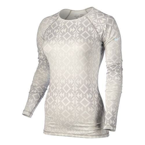 Womens Nike Pro Hyperwarm Crew Printed Long Sleeve No Zip Technical Tops - Bone L ...