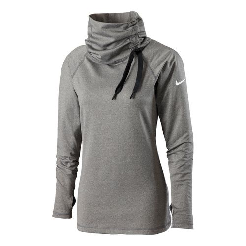 Womens Nike Pro Hyperwarm Hybrid Top Long Sleeve No Zip Technical Tops - Heather Grey ...