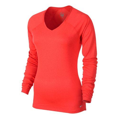 Womens Nike Relay Long Sleeve No Zip Technical Tops - Crimson L