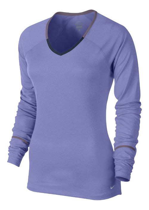Womens Nike Relay Long Sleeve No Zip Technical Tops - Violet XS