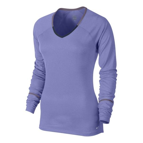Womens Nike Relay Long Sleeve No Zip Technical Tops - Violet L