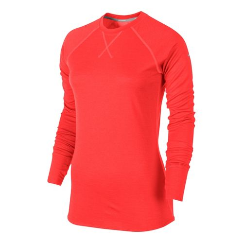Womens Nike Wool Crew Long Sleeve No Zip Technical Tops - Crimson L