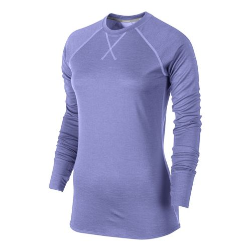 Womens Nike Wool Crew Long Sleeve No Zip Technical Tops - Violet S