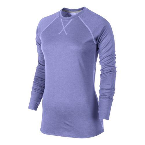 Womens Nike Wool Crew Long Sleeve No Zip Technical Tops - Violet XL
