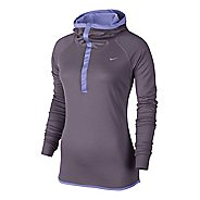 Womens Nike Wool Hoody Long Sleeve 1/2 Zip Technical Tops