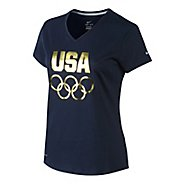 Womens Nike USA Rings V Neck Tee Short Sleeve Technical Tops