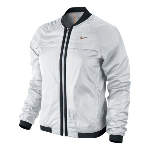 Womens Nike Bomber Warm-Up Unhooded Jackets - White/Black XS