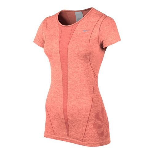 Womens Nike Seamless Short Sleeve Technical Tops - Atomic Pink XL
