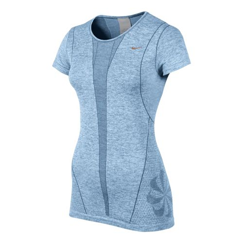 Womens Nike Seamless Short Sleeve Technical Tops - Ice Blue S