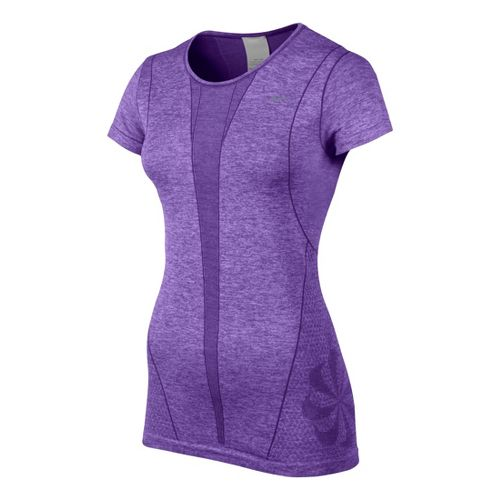 Womens Nike Seamless Short Sleeve Technical Tops - Neon Purple M