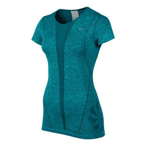 Womens Nike Seamless Short Sleeve Technical Tops - Teal XS