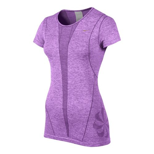 Womens Nike Seamless Short Sleeve Technical Tops - Violet L