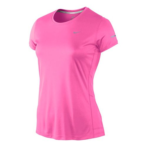 Womens Nike Miler Crew Top Short Sleeve Technical Tops - Bright Pink M
