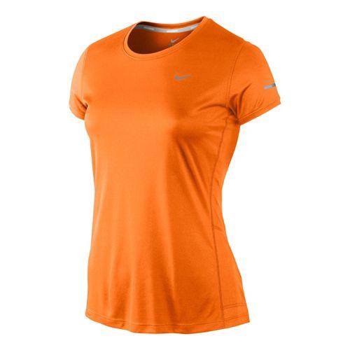 Womens Nike Miler Crew Top Short Sleeve Technical Tops - Citron XL