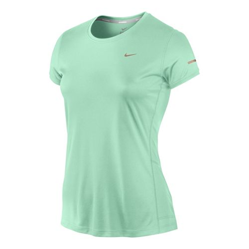 Womens Nike Miler Crew Top Short Sleeve Technical Tops - Cool Green XL