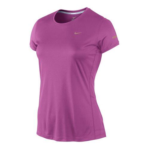 Womens Nike Miler Crew Top Short Sleeve Technical Tops - Dark Pink XS
