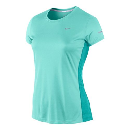 Womens Nike Miler Crew Top Short Sleeve Technical Tops - Light Turquoise M