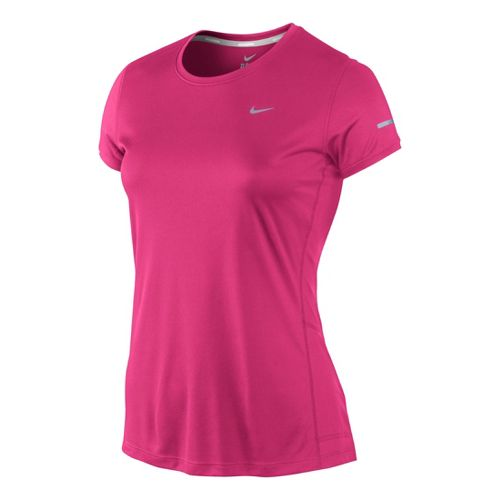Womens Nike Miler Crew Top Short Sleeve Technical Tops - Pink Shock XL