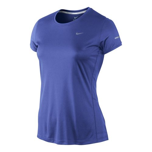Womens Nike Miler Crew Top Short Sleeve Technical Tops - Turbo Violet XL