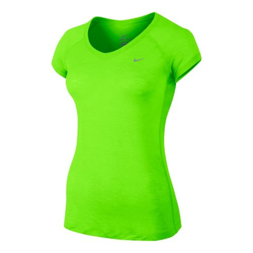 Womens Nike Breeze Short Sleeve Technical Tops - Limelight L
