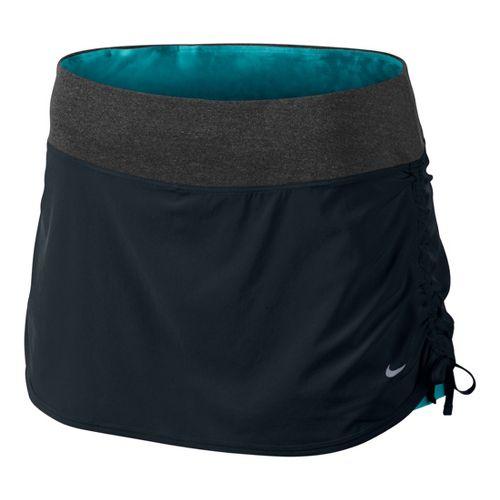 Womens Nike Rival Stretch Woven Skort Fitness Skirts - Black/Teal L