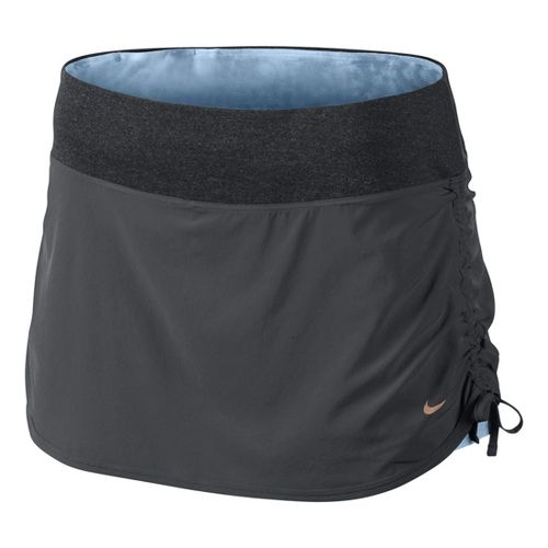 Womens Nike Rival Stretch Woven Skort Fitness Skirts - Dark Grey/Ice Blue L