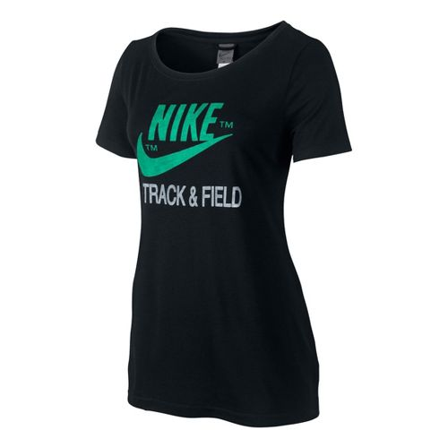 Womens Nike RU NTF Read Tee Short Sleeve Technical Tops - Black S