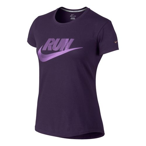 Womens Nike Run Swoosh Tee Short Sleeve Technical Tops - Violet XS