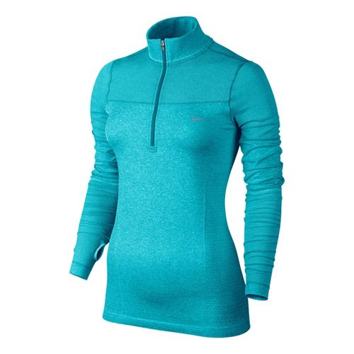 Womens Nike Knit Half Zip Long Sleeve 1/2 Zip Technical Tops - Aqua Blue L ...