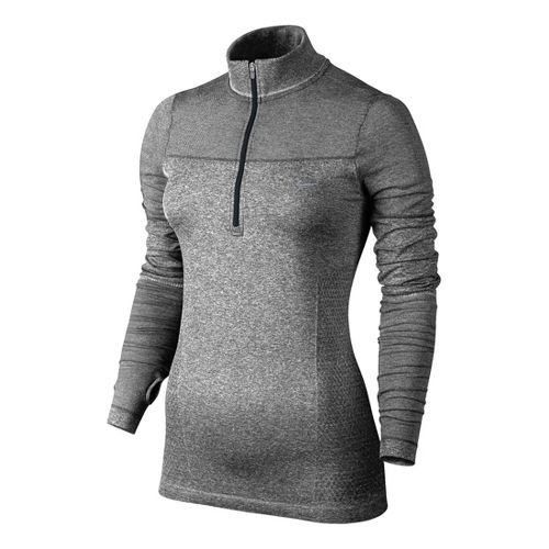 Womens Nike Knit Half Zip Long Sleeve 1/2 Zip Technical Tops - Charcoal L