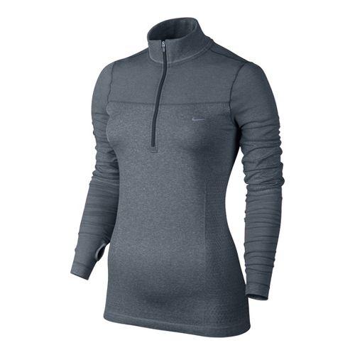 Womens Nike Knit Half Zip Long Sleeve 1/2 Zip Technical Tops - Slate XS