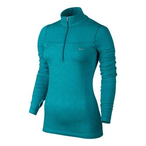 Womens Nike Knit Half Zip Long Sleeve 1/2 Zip Technical Tops - Teal XL