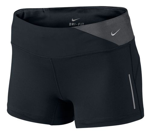 Womens Nike Epic Run Boy Fitted Shorts - Black/Dark Grey XL