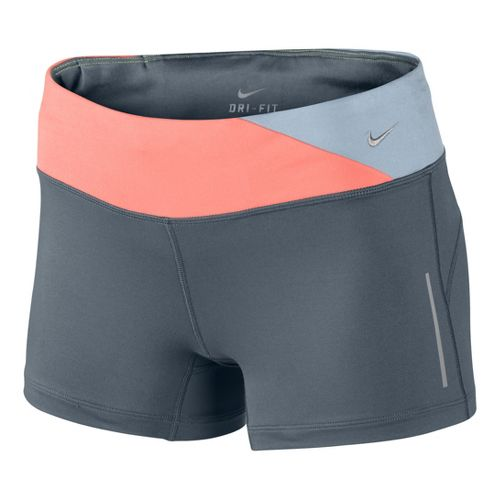 Womens Nike Epic Run Boy Fitted Shorts - Slate/Atomic Pink XS