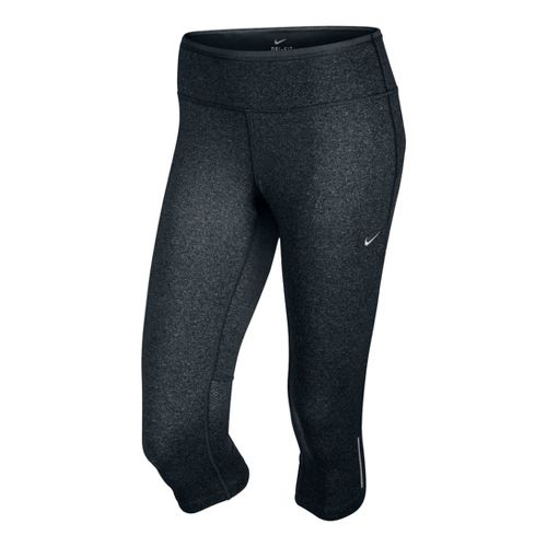 Womens Nike Epic Run Capri Tights - Black/Heather M