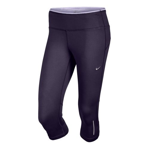 Womens Nike Epic Run Capri Tights - Dark Purple L