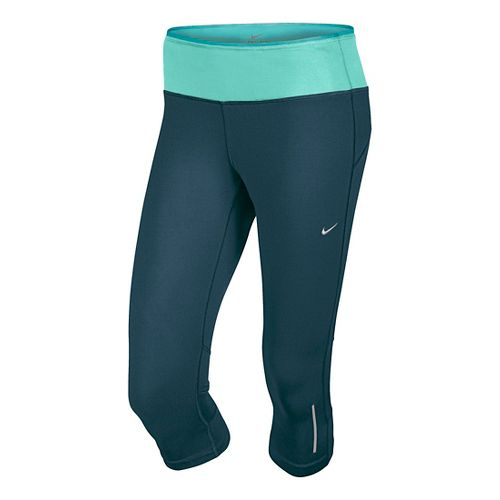 Womens Nike Epic Run Capri Tights - Deep Sea Blue S