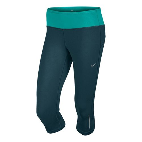 Womens Nike Epic Run Capri Tights - Evergreen/Sea Green M