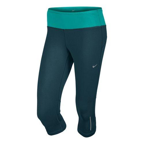 Womens Nike Epic Run Capri Tights - Evergreen/Sea Green S